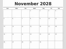 October 2028 Calendar Printable