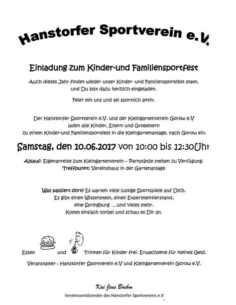 einladung sportfest hanstorfer sportverein ev