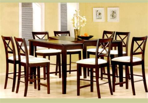 9pc cappuccino wood counter height dining table 8 chairs