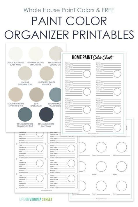 whole house paint colors printables
