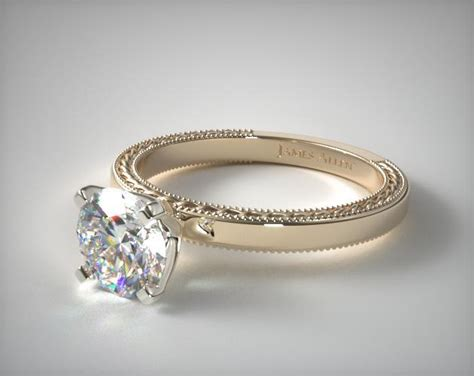 etched profile solitaire engagement ring  yellow gold