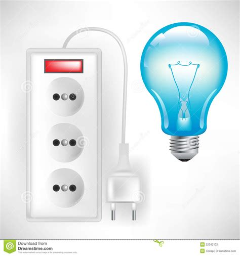 light bulb with outlet electric outlet with cable and light bulb stock vector