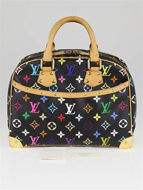 louis vuitton black monogram multicolore trouville bag