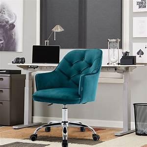 Velvet, Shell, Chair, Upholstered, Desk, Chair, For, Home, Office, Swivel, Task, Chair, With, Castor, Wheels