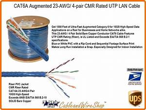 Cat6a Augmented Utp Cmr Riser 4 Pair 23awg Pvc Jacket 1000ft