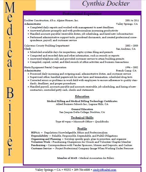 billing and coding resume sle sle resumes