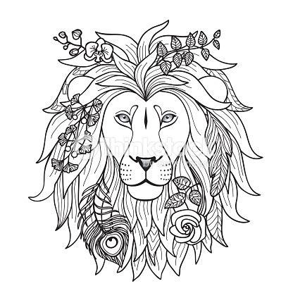 lion blumen lion mit blumen vektorgrafik thinkstock