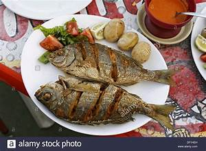 Typical Fish Dishes Black Bream With Papas Arrugadas