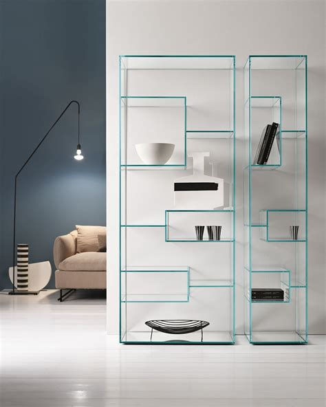 Glass Bookcase Shelves by Contemporary Bookcase Glass Liber A By Luca Papini