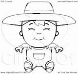 Farmer Cartoon Boy Sitting Clipart Coloring Vector Outlined Thoman Cory Clip Royalty Clipartof sketch template