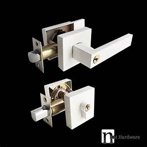 Square Pure White Entrance Lock Deadbolt Set | nBat Hardware