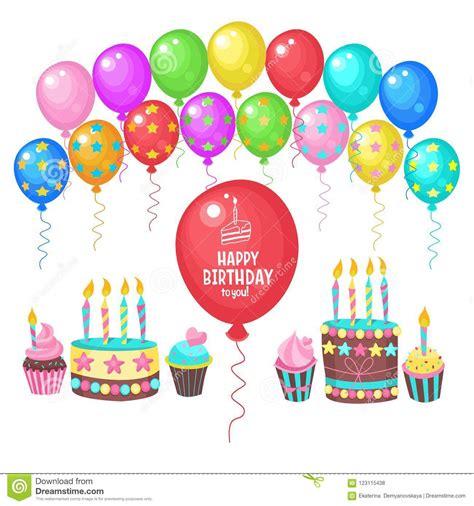 feliz cumplea 241 os tarjeta de felicitaci 243 n muchos globos coloridos tortas de cumplea 241 os con las