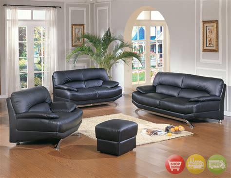 Contemporary Black Leather Living Room Furniture Sofa Set