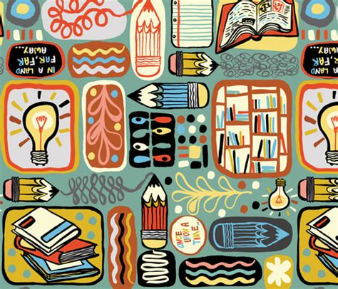 Reading And Writing Fabric  Gsonge Spoonflower