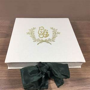 gold foil stamped customized monogram linen wedding box With wedding invitation box for sale