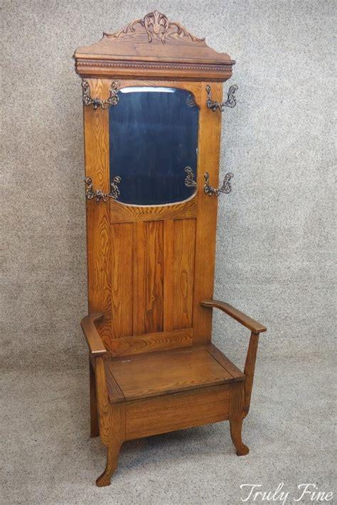 Authentic Antique Victorian Golden Oak Hall Seat Coat Hat