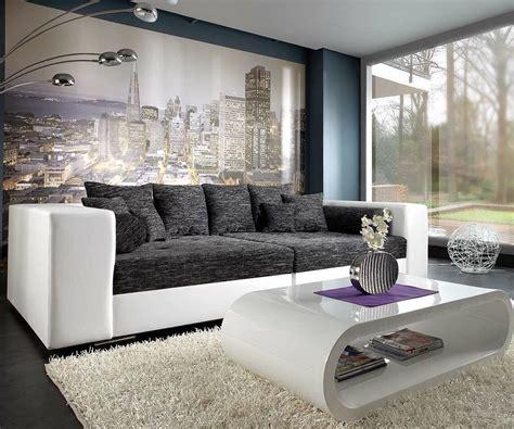 Bigsofa Marlen 300x140 Cm Weiss Schwarz Couch Möbel Sofas