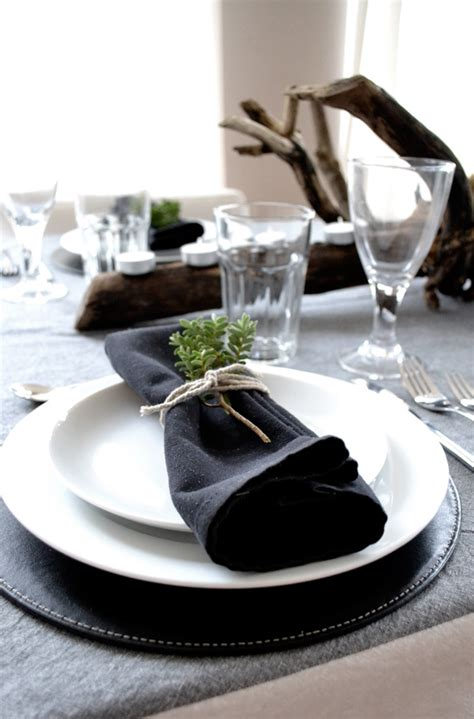 black and white dinner table setting festive christmas table setting