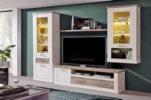 Wohnzimmerschrank DURO Set 4 Tlg Optik Pinie Wei Antik
