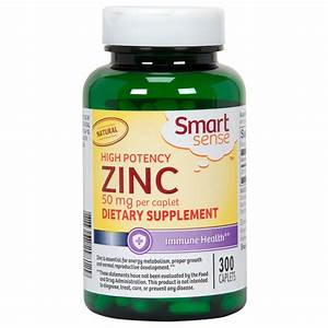 Smart Sense High Potency Zinc Dietary Supplement 50 Mg 300 Caplets