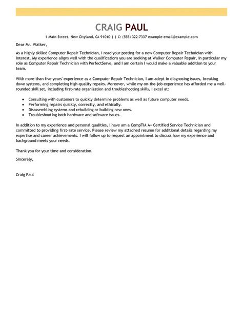 Cover Letter For Network Technician by Best Computer Repair Technician Cover Letter Exles