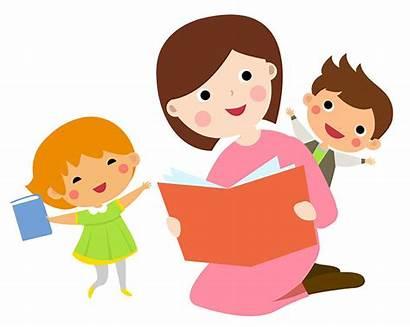 Reading Mother Cartoon Children Kinderen Aan Lettura