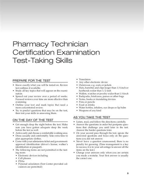 Pharmacy Technician Resume Skills by 3 Pharmacy Technician Certification Examination Test