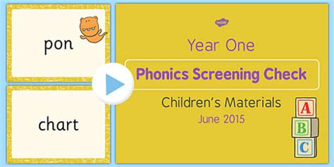 Year 1 Phonics Screening Check 2015 Children's Materials