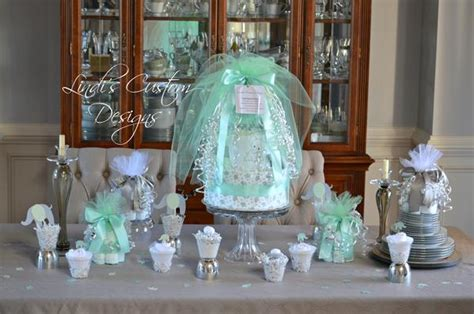 Ee  Baby Ee    Ee  Shower Ee   Table Centerpiece Set In Mint And Gray