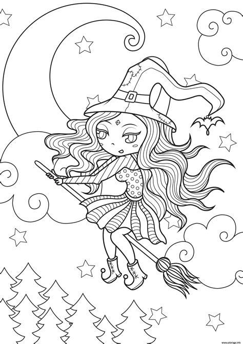 coloriage jolie sorciere simple pres de la lune dessin