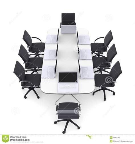 chaise de bureau ronde ordinateurs portables sur la table ronde et les chaises de bureau photo libre de droits image
