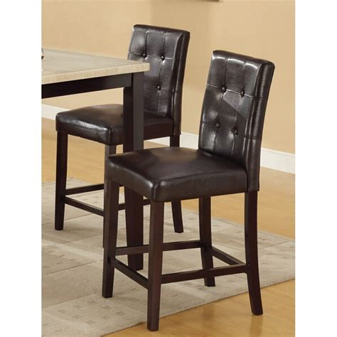 bar stools counter height espresso leather set of 2 parson