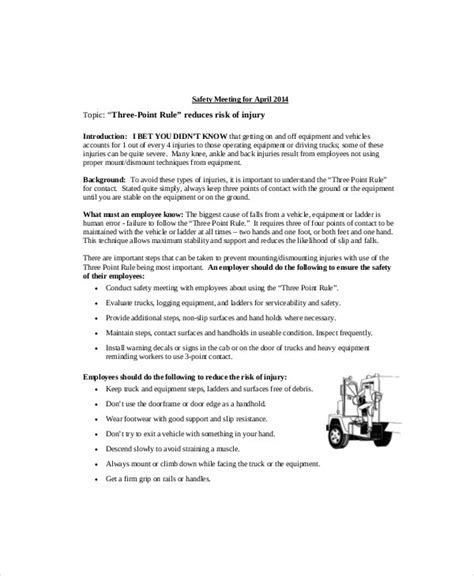 safety meeting agenda templates  sample