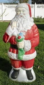 Vintage Empire Plastics 41 U0026quot  Tall Santa Claus W   Stocking Christmas Blow Mold