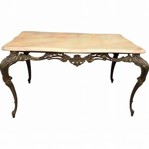 Small metal coffee table with marble top from for Metal coffee table with stone top