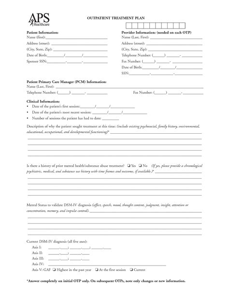 Treatment Template by Treatment Plan Template Cyberuse