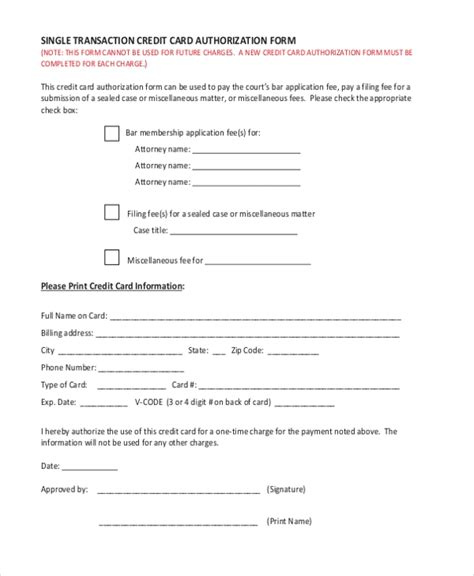 sample credit card authorization form   documents