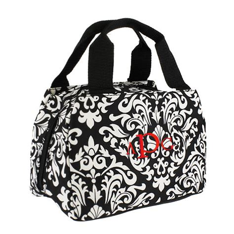damask insulated lunch tote personalized