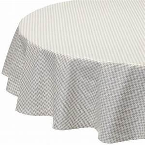 Nappe Ovale Enduite : nappe enduite ronde ou ovale pied de poule gris ~ Teatrodelosmanantiales.com Idées de Décoration