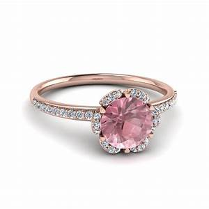 floral halo morganite engagement ring in 14k rose gold With rose colored wedding rings