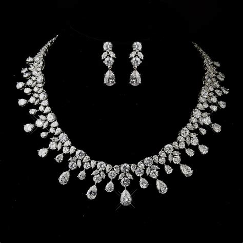 antique silver clear cz crystal necklace earrings prom