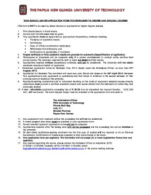 png unitech  school leaver application form