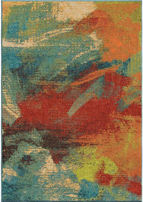 orange area rug spoleto bright color abstract impressions multi large area