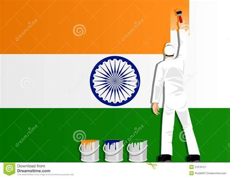 Painting The Flag Of India Royalty Free Stock Photography