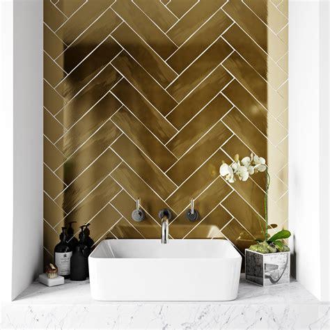 Metallic Bathroom Tiles by Ceramic Tile Metallic Gold Wall Tile 75mm X 300mm