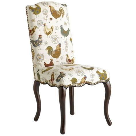 upholstered chicken rooster chairs claudine dining chair rooster pier  imports