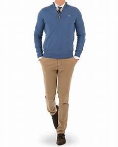 Morris Merino John Half Zip Sweater Light Blue hos ...