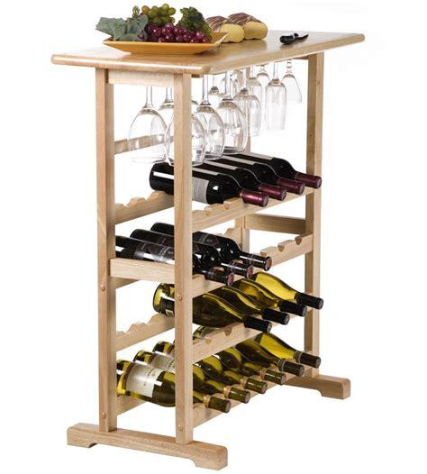 Wooden Wine And Stemware Rack  Natural In Wine Racks