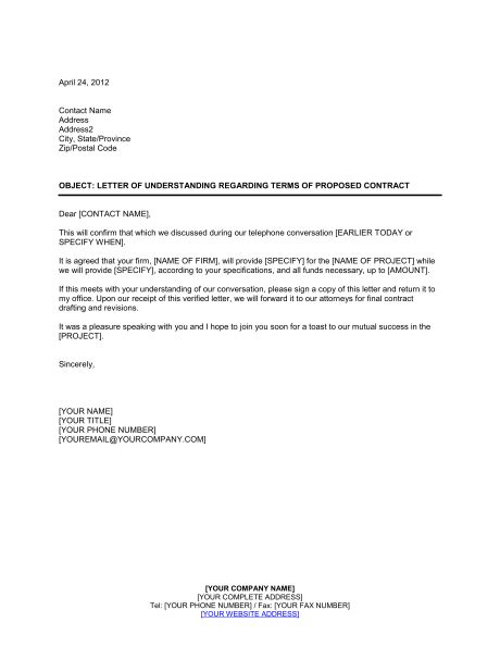 letter of understanding awesome letter of understanding cover letter exles 10125