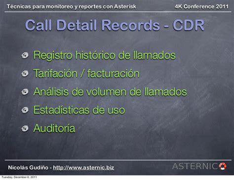 tecnicas monitoreo reportes  asterisk